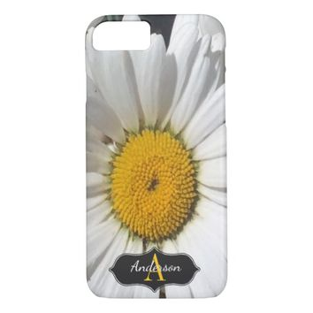 Pretty Yellow Daisy Close-Up Monogrammed iPhone 7 Case