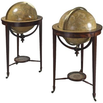 Pair of Library Globes by Smith & Son