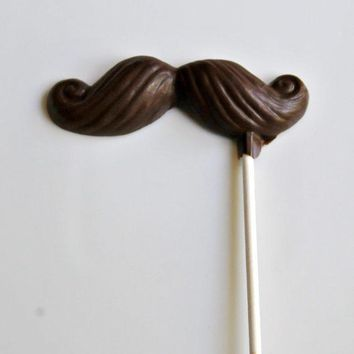 Chocolate Mustache Pops 6 Pieces  Father's Day Gifts & Baby Shower Favors