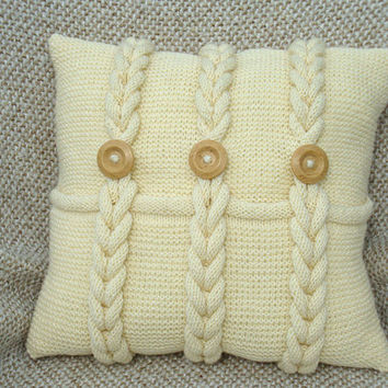 Ivory knitted pillow, chunky pillow case, decorative pillows, milky-white pillow case, off-white knitted pillows, chunky, mothers day gift
