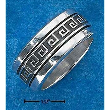Sterling Silver Ring:  Mens Worry Ring With Greek Key Spinning Band