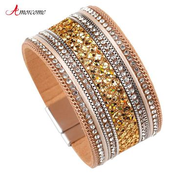 Amorcome Wide Leather Bracelet For Women Magnet Clasp Gold Color Sequins Rhinestone Wrap Bracelets & Bangles Female Jewelry Gift
