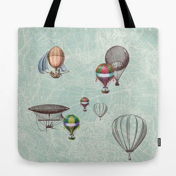 Hot Air Balloon Tote Bag with map, travel theme tote, everything bag, allover print, gift for mom, beach bag, travel bag, teal steampunk