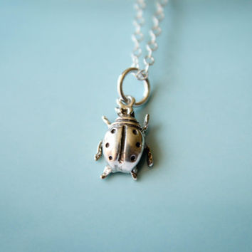 Tiny Ladybug Necklace in Sterling Silver