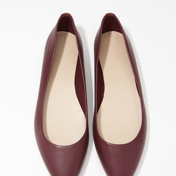 Pointed Faux Leather Flats