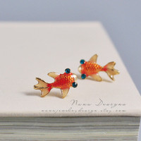 Goldfish Earrings Tiny Orange Goldfish Stud Earrings Cute Fish Earring Studs Gold Plated Fashion Jewelry Gift For Her Girl Woman Earrings