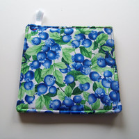 Set of Two, Hot Pads, Trivets, Pot Holders, Big Juicy Blueberries on white