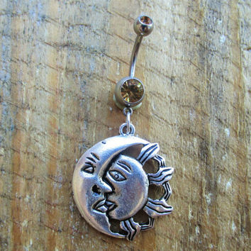 Sun Moon Belly Button Ring, Navel Ring, Belly Button Jewelry, Body Jewelry, Celestial Belly Ring, 14g Barbell, Belly Piercing.