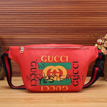 GUCCI Women Shopping Leather Purse Waist Bag Single-Shoulder Bag Crossbody