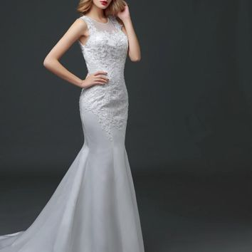 Mermaid Train Wedding Dress Lace Fishtail with Appliques Bride Princess