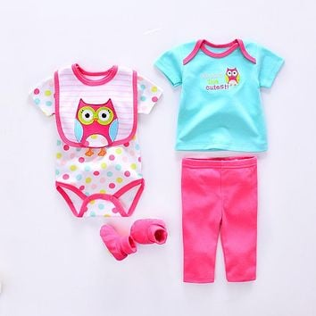 Baby clothing Sets cotton baby girl clothes Newborn suit infant Cute owl cat cow Lion romper+pants+socks+Bib+shirt