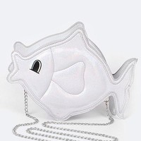 Fish Metallic Crossbody Handbag