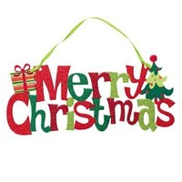 """Merry Christmas"" Glitter Door Hanger - Christmas Decorations"
