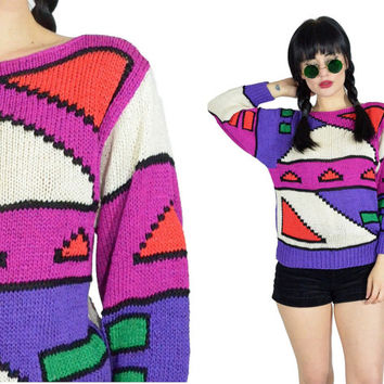 vintage 80s pastel sweater geometric colorblock pixelated sweatshirt top colorful knit woven shirt 1980s sweater small