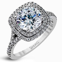 Simon G. Double Cushion Shaped Halo Split Shank Diamond Engagement Ring