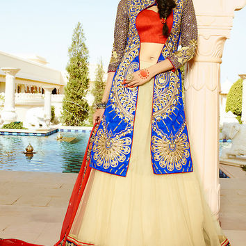 Red Blue and Beige Art Silk Heavy Embroidered Bridal Lehenga