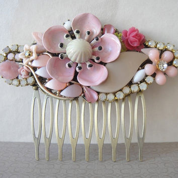 Pink bridal haircomb shabby chic vintage flowers by OOAKjewelz