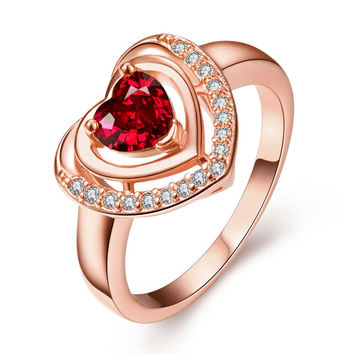 Rose Gold Plated Ruby Opening Ring Size 8