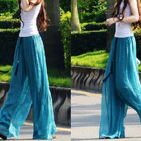women's jade green Chiffon Wide leg pants Trousers long dress maxi skirt kz02