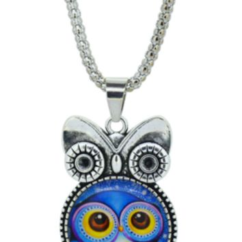 Cute Blue Owl pendant necklace in Jewelry Vintage Sterling Silver