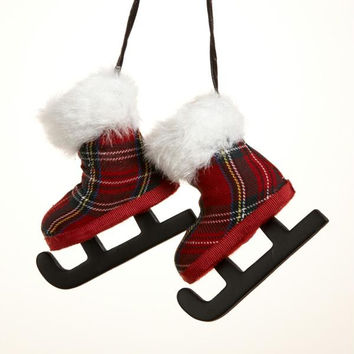 christmas ornament red and black plaid ice skates - Red And Black Plaid Christmas Decor