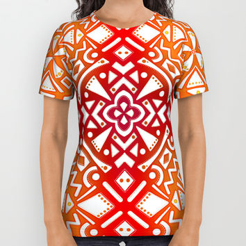 Tribal Tiles II (Red, Orange, Brown) Geometric All Over Print Shirt by AEJ Design