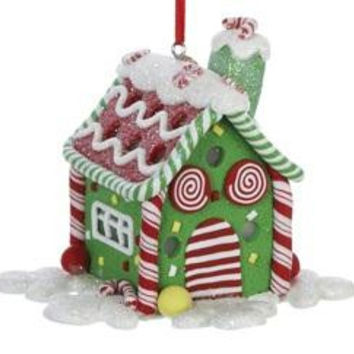 Christmas Ornament - Green Gingerbread House