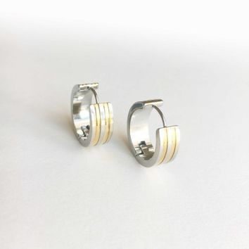 Thick Hoop Earrings • Medium Hoop Earrings • Hoop Earrings • Gold and Silver Hoop Earrings • Silver Earrings • Steel Hoop Earrings
