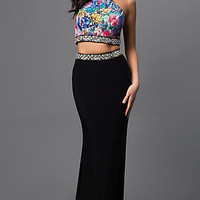 Two Piece Black Print High Neck Dress by Dave and Johnny