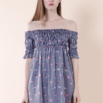Flamingo Off-shoulder Dress in Stripes