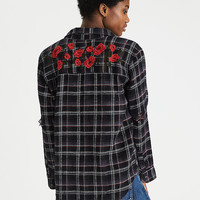 AEO Oversized Destroyed Flannel Shirt, Black