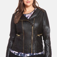 Plus Size Women's ELOQUII Quilted Faux Leather Moto Jacket,
