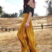 Side Slit Maxi Skirt - Gathered Waist Flowy Maxi Skirt with Side Slits - Tie Dye Maxi Skirt - Gold Stretch Rayon Maxi  Sizes XS, S, M, L, XL