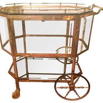 French Brass Serving Cart, C.1940