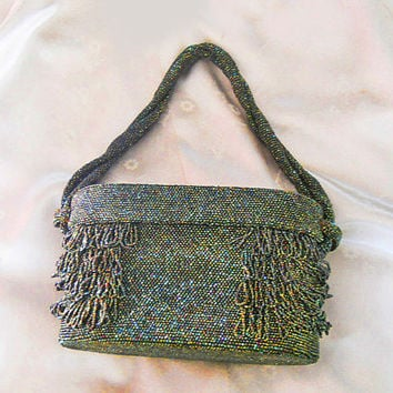 Vintage 40s Beaded Box Purse - 1940s Evening Bag with Iris Beading