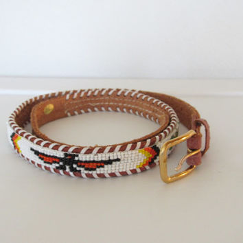 Vintage 1970s Boho / Thin Tooled Leather & Seed Bead Souvenir Belt