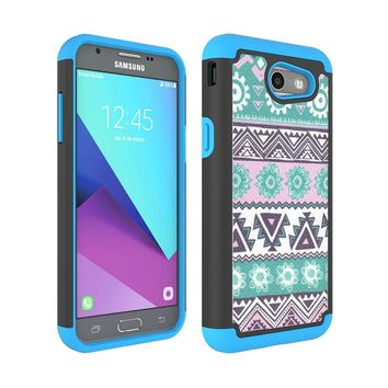 Dual Layer Tribal PC + TPU Rugged Case Shockproof Protective Cover For Samsung Galaxy J3 2017/J3 Emerge/J3 Eclipse/J3 Mission @
