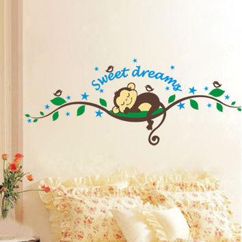 Sweet Dreams Monkey Removable Vinyl Decal Mural Home Decor Wall Sticker Happy Gifts DIY Removable Pegatina De Pared Mural