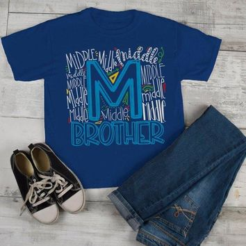 Boy's Middle Brother T Shirt Typography Tee Matching Sibling Shirts Cute Tees Baby Announcement Shirt