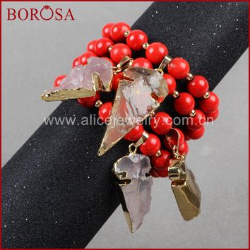 BOROSA Fashion Stone Beads Bracelet Natural Arrowhead Quartz 10mm Red Howlite Blue Stone Bead Bracelet  Gold Bracelets G884