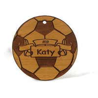 Soccer Ball  Personalized Wood Ornament by gclasergraphics on Etsy