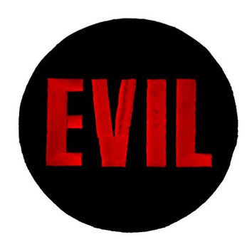 Evil Round Iron On Patch Red & Black Applique