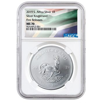 2019 South Africa 1 oz Silver Krugerrand NGC MS-70 (First Releases)