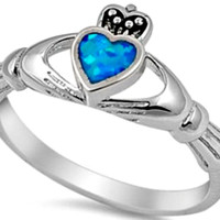 .925 Sterling Silver Blue Opal Claddagh Ring CZ Ladies size 4-10