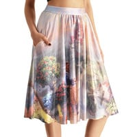 NEW 0007 Sexy Girl Women Summer princess belle Beauty and the Beast 3D Prints Skater Pleated Skirt Knee Skirts With Pocket