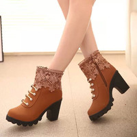 Hot Deal On Sale Winter Zippers Lace High Heel Boots [9391075466]