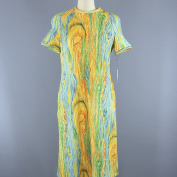 Vintage 1960s Knit Sweater Dress in Yellow Aqua Psychedelic Swirl / Leslie Fay