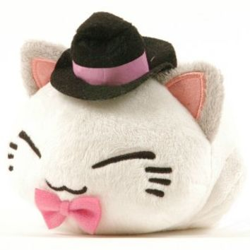 "Nemuneko Kitty Plush 4"" White Cat with Pink Bowtie"