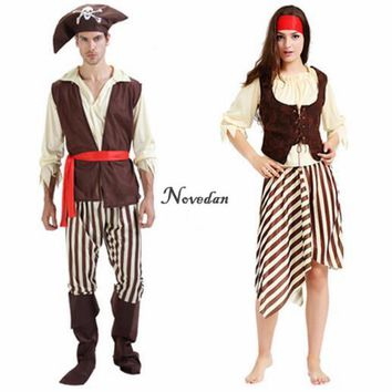 Jack Sparrow Pirate Costume Adult Masquerade Cosplay Fancy Dress Carnival Halloween Cosplay Costume For Women Men