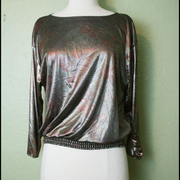 Vintage '80s Liquid Metallic Shirt// M by StoriesForBoys on Etsy